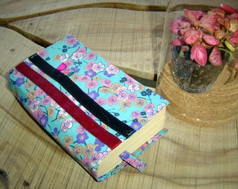 Cover book patterned blue cherry blossoms