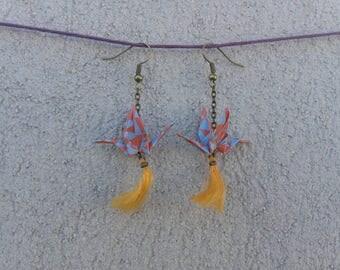 """Earrings """"Origami"""" - crane Orange and blue"""
