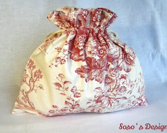 Bag pouch toile de Jouy red and beige