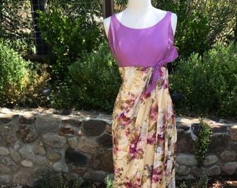 Vintage 1960s floral  empire waist dress