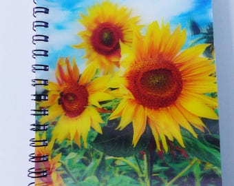 Flower sunflower 3D cover notebook spiral A6 size
