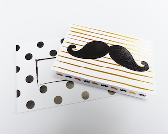 mustache man gold and black card