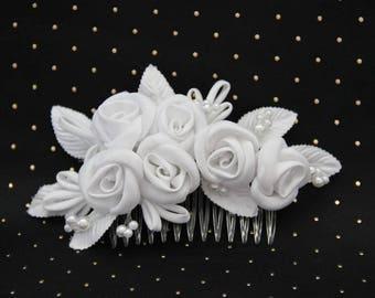 Ceremony white bridal flower hair comb