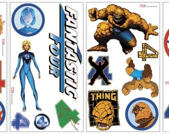 WALL DECAL DECO STICKERS PACK * FANTASTIC 4 * 4 BOARDS