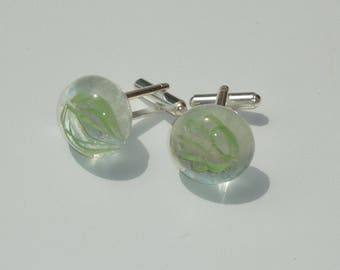 """Crystal"" fused glass cuff links"