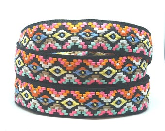 Ribbon trim boho colored 25 mm / tribal ethnic fabric - cotton jacquard - textile design and accessories diy /Sweetchicmercerie