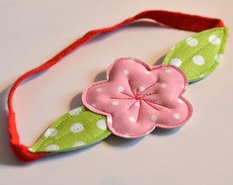 headband en tissus, fleur de cerisier rose à pois