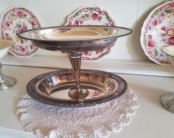 Vintage Silver Serving Tray Jewelry Holder FRENCH COUNTRY DECOR