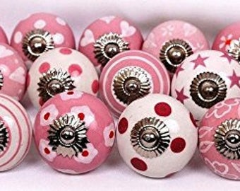 ON SALE Pink and White Ceramic Knobs/Knobs/Cabinet Knobs-/Dresser Knobs/Drawer Pulls/Knobs/Shabby Chic/Knob/Drawer Knobs/Nursery/Pulls