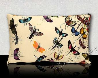 Pillow DESIGN - MARIPOSA Parrot-butterflies/dragonflies multicolored-Fuchsia/Turquoise/green Emerald/yellow/Melon/Violet/Purple. White background.