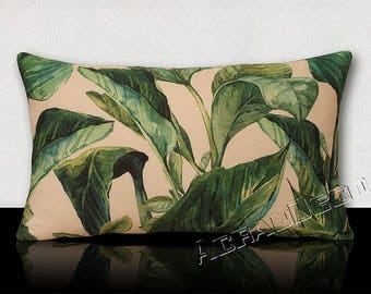 Rectangular cushion large tropical leaves - dark green emerald/green/Turquoise/Jade/green imperial on white background.