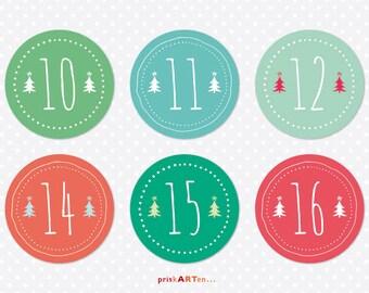 24x Advent Calendar figures fir-colored