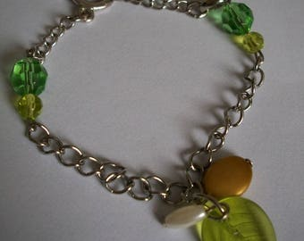 Leaf bracelet and faceted beads handmade