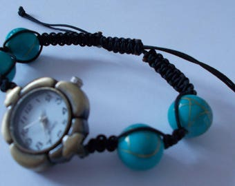 Gold TURQUOISE beaded watch