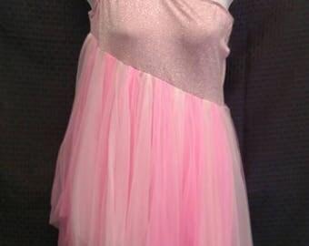 Pink Lycra One Shoulder Costume w/ Pink Chiffon Skirt