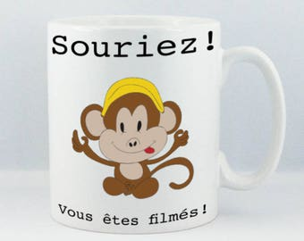 "Mug for coffee/chocolate/white ceramic monkey ""smile you're the filmed"" print StickMarquage Agen"