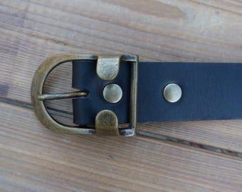 Black leather, width 35 mm, brushed brass look buckle belt