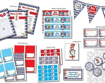 INSTANT DL- Dr suess Baby Shower- Printable Ready to Go Package