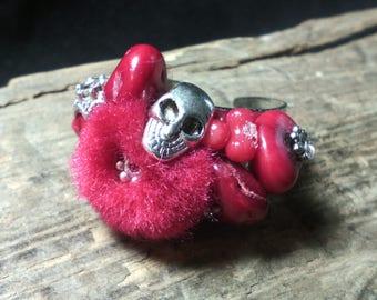 """Bague Zen Rouge corail et laine Collection """"Pomponnettes"""""""