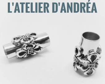 Beautiful clasps in brass, magnetic, fleur de lis beads 5 mm, silver pattern antique brass.