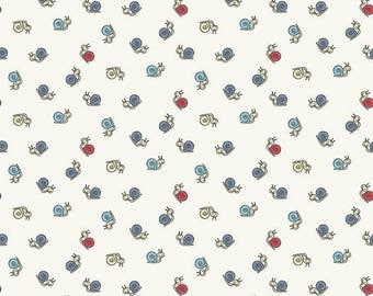 patchwork fabric snails white fabric