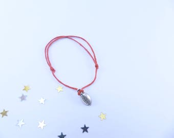 Red bead and ball charm bracelet