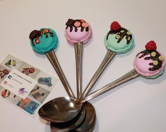 Delicious macarons, polymer, spoons cuistomisee spoons