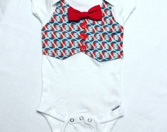 Sailboat Baby Onesie with Vest and Bowtie