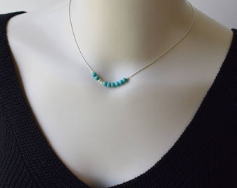 Turquoise Silver Necklace,Silver Turquoise Necklace,Beaded Turquoise Necklace,Turquoise Beaded Necklace,Turquoise Jewelry,December Gift