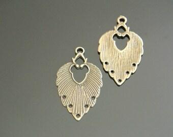 4 pendants connectors shape 34 x 20 mm, antique bronze leaf