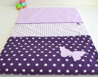 Couverture Plaid Bébé personnalisable Fait Main Papillon parme violet et blanc @lacouturebytitia