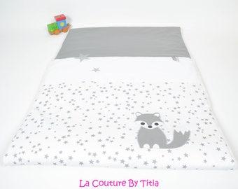 Plaid baby blanket personalized White hand made star @lacouturebytitia grey Fox and gray