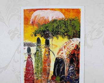 African Canvas Art. Hand Painted Art. Tribal Art. Oil Painting. African Traditional Women Painting. Office Art. Home Art