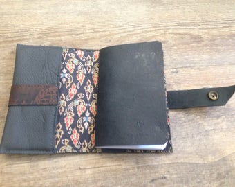 Handmade charcoal leather notebook journal cover a6 refillable