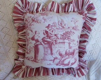 Square, ruched ruffle Toile de Jouy Cushion cover