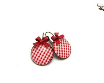 Gingham red dome earrings vintage glass