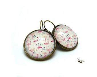 Flamingos dome earrings vintage glass