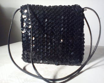 Black sequin fabric recycled bag