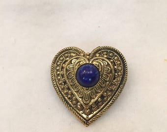 Vintage Heart Brooch Pin with Cobalt Blue Center