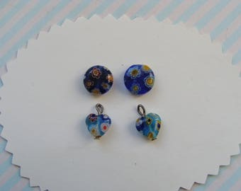 Set of 4 blue 2 pearls pucks and 2 heart millefiori glass 8mm diam.