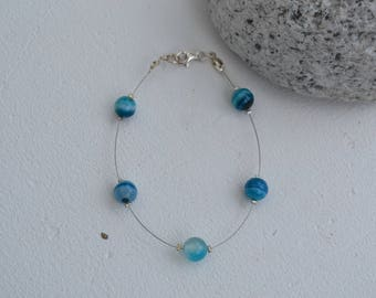 BRACELET WIRE BLUE AGATE BEADS AND 925