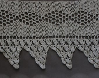 Cotton crocheted edging. Handmade lace. 34 inches by 4.5 inches. One only.