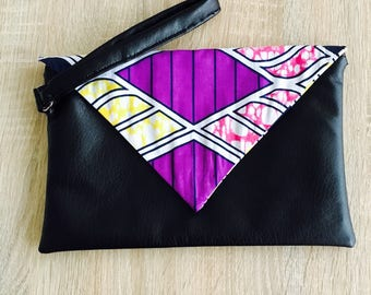 Clutch faux leather and African fabric or wax