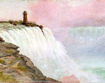 Antique NIAGARA FALLS, 19th Century View of Niagara  with Terrapin Tower, Oil on Panel