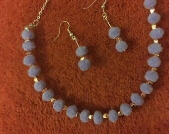 Choker and earrings set (mauve)