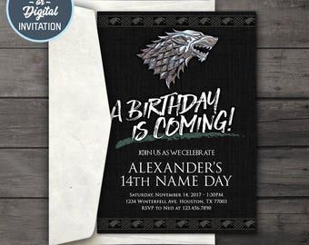 Game of Thrones Digital Birthday Party Invitation • Game of Thrones Birthday Party Invitation Printable • House Stark Birthday Invitation