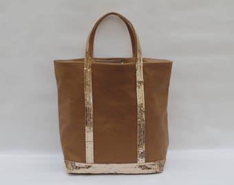 New Tote hazelnut-Beige leather with gold sequins