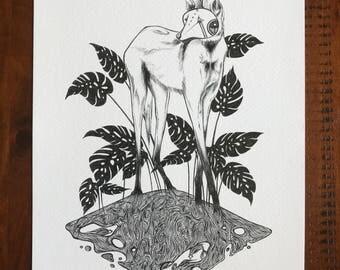 Monstera, Maned Wolf Print