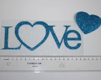 Word Love big model - in flex fusible glitter for customization