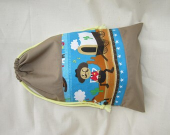 Backpack blanket for school or nursery - wild west / cowboy - customized on request - pouch for back to school